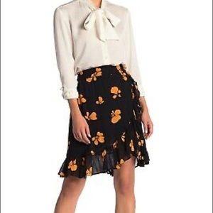 Catherine Malandrino black floral ruffle skirt
